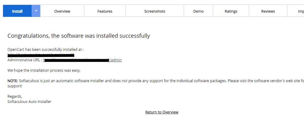 Opencart installation - DirectAdmin